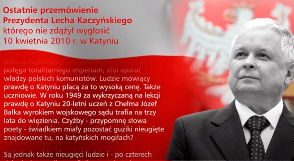 """""""Ludzie mówiący prawdę o Katyniu płacą za to wysoką cenę"""". Ostatnie przemówienie śp. Lecha Kaczyńskiego"""